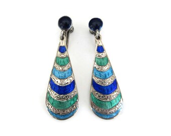 Vintage Siam Sterling Enamel Teardrop Earrings - Sterling Silver Earrings, Thailand Earrings, Dangle Drop, Vintage Earrings, Blue Green