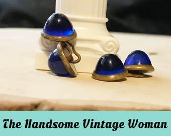 Blue Cabochon Cuff Links, 1920s Gold tone chain cuff links, Blue Tuxedo cuff links,  Antique Jewelry