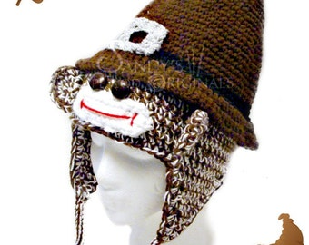 Pilgrim Sock Monkey Hat Infants to Adults Crochet Pattern PDF 645