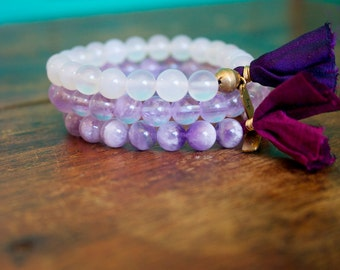 Purple Beaded Tassel Prayer Bracelet Set Light Amethyst, Chevron Amethyst, and White Agate Sari Silk Mala Stack