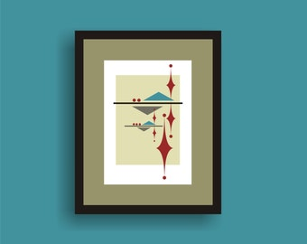 Reflect  -  Mid Century Modern Art Original Print  by C Wiedenheft comes with a white mat and ready to frame.