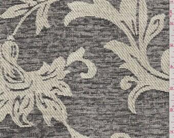 Charcoal Grey/Ecru Baroque Chenille, Fabric By The Yard