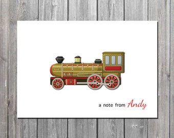 Personalized notecard/antique train notecard/kids Stationery/Adult Note Cards/kids notes/PROFESSIONALLY PRINTED