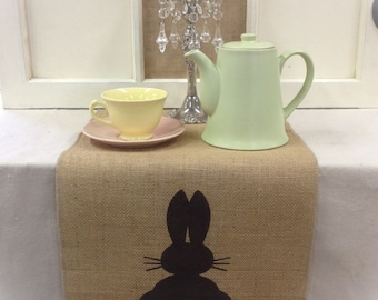 Burlap Table Runner with a Bunny on each end - Easter runner Holiday decorating