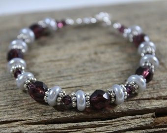 Purple and Silver  Bracelet / Purple and Grey / Gifts for Her / Gifts for Women / Sparkly Bracelet / Purple Bracelet / Silver Bracelet