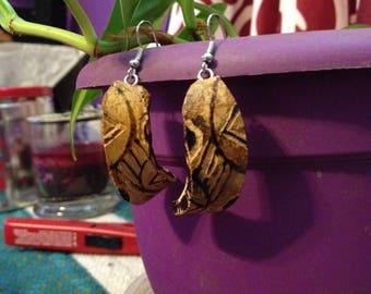 crescent, tribal gourd earrings