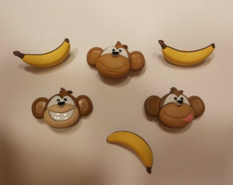6, monkey and banana buttons, 25-28 mm (14)