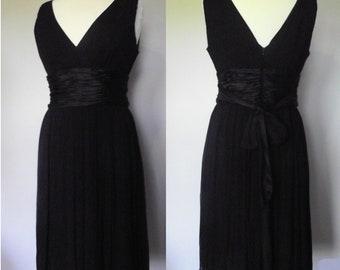 Maggy London Vintage Black Silk Chiffon Cocktail Dress // Sleeveless // Size 12