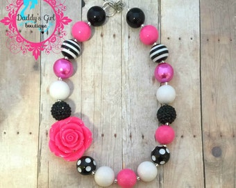 Hot Pink Black and White Chunky Necklace-Hot Pink and Black Chunky Necklace-Hot Pink Black bubblegum necklace-Photo Prop- Pageant Necklace