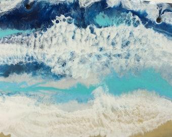 Ocean resin painting art waves wall art original