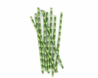25 Bamboo paper straws-green straws-paper straws-garden straws-jungle straws cake pop sticks