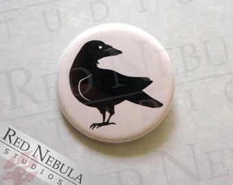 Raven Pinback Button, Magnet, or Keychain, Creepy Bird Pin, Raven Silhouette, Black Bird Pin, Black Raven Button, Black Crow Pin Button