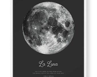 Full Moon Poster. La Luna. Pablo Neruda Quote. Moon Print. Vintage Luna Print. Solar System Art. Astronomy Print. Black Bohemian Poster.