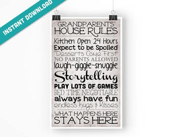 Grandparents' House Rules - 11x17 Poster - Instant Download Digital Print