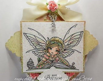 Digital Stamp - Instant Download - Bookworm Fairy Digi Stamp - Fantasy Line Art for Cards & Crafts by Artist Hannah Lynn for Crafts and Me