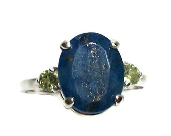"Lapis, lapis ring, lapis accent ring, blue multistone ring, mothers ring, blue green, s 7 1/2  ""Blue Lagoon"""
