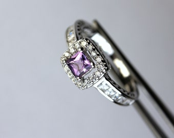 Genuine Amethyst Square in an Elegant Halo Accented Sterling Silver Setting