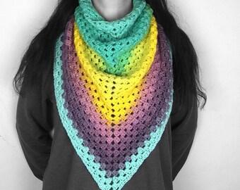 Spring scarf - crochet scarf - blanket scarf - triangle shawl - crochet shawl - yellow, purple, blue
