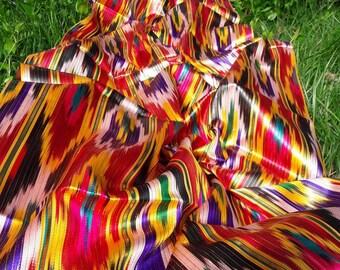 "A piece of Uzbek handmade 3.0 meters 100% silk vintage ikat ""Khan-atlas"""