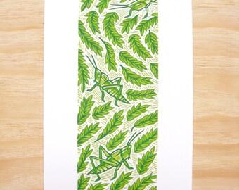 "Woodblock Print - ""Three Crickets"" - Green Art - Tall and Narrow - Art Printmaking"