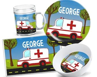 Kids Ambulance Tableware - Custom Kids Plate Set - Personalized Kids Plate - Kids Bowl - Kids Placemat - Dinnerware for Kids - Party Decor