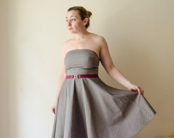 Bandeau Dress Grey Pinstripe Strapless Retro Dress, Full Skirt Dress, Summer Cotton or Winter Wool