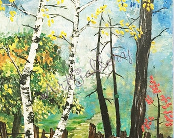 Landscape painting, forest painting, acrylic painting on canvas