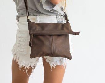 Brown Leather Foldover Crossbody Handbag, Brown Leather Shoulder Bag, Fold Over Bag, Zip up Brown Leather Purse
