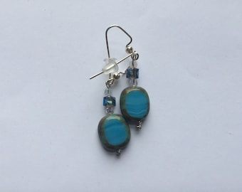 Blue and Square Beaded Earrings