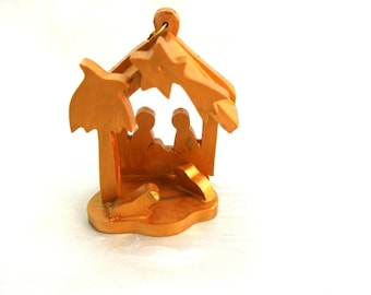 Nativity, Olive wood Christmas nativity ornament, holy family hand carved in  BETHLEHEM, HOLY LAND