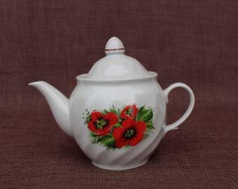 Soviet vintage teapot Vintage coffee pot with flowers Soviet coffee pot Vintage porcelain teapot Retro kitchen