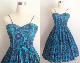 1950s Blue Novelty Print Sundress XSmall | 1950s Novelty Print Cotton Sundress 24 inch Waist