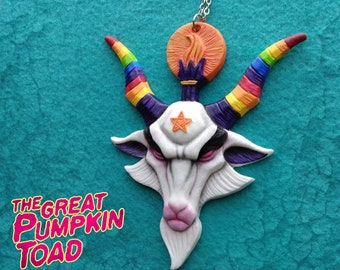 Rainbow Baphomet (4in x 4 1/2in) necklace included