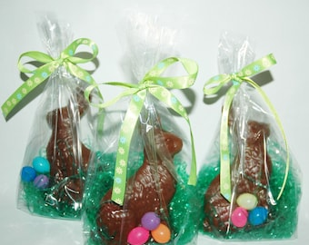 CHOCOLATE BUNNY SOAP! EaSTER BuNNy Rabbit Wrapped & Ready to Give So Fun for your Tub Raw Cocoa Vegan Glycerin Natural Dye Free- Eggs Grass