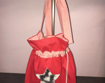 Pink bag purse with strap to tie