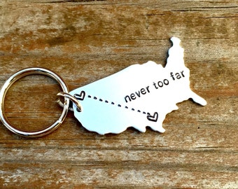 ANY STATE, USA with Custom Phrase - Long Distance Relationship Keychain