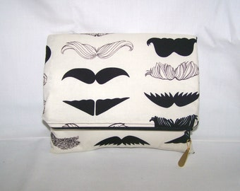 SALE Large Folded Clutch, Make Up Bag, Travel Bag, Bridesmaids Gift  --- Alexander Henry Where's My Stache