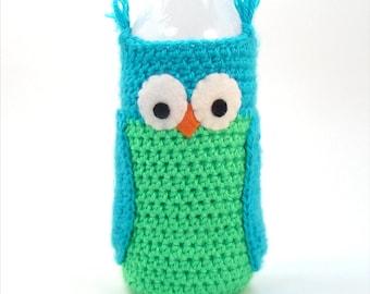 Water Bottle Sleeve - Owl Crochet Pattern - Crochet Water Cozy - Summer Crochet - Plastic Water Bottle Cover