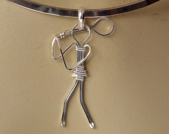 "Tennis player pendant. Wire wrapped.  Choose your style.   ""Perfect partner"""