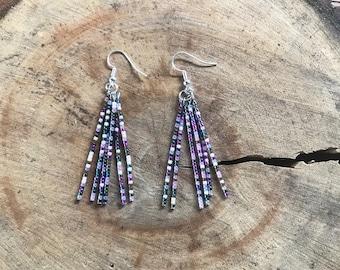 Handmade Glass Seed Bead Metallic Tassel Earrings