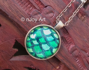 """Green Mermaid Tail, Hand Painted Art Pendant, 1"""" round mini acrylic painting set in a pendant tray"""