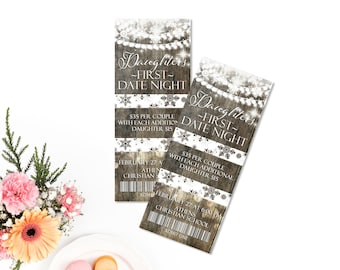 Ticket Invitation, Rustic Winter Invite, Winter Wonderland Lights and snowflakes, Daddy daughter Dance Ticket, , Entry Ticket, Party Ticket