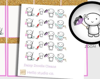 Daisy Cleaning/chore planner stickers. Cute cleaning Kawaii printable stickers great for any planner!!g