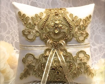 flower girl basket, gold basket, gold wedding basket, flower basket gold, ivory flower girl basket, ring bearer pillow
