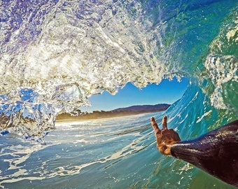 Wave Art Photograph, BodySurfing Peace Sign Photo, California Beach Style, Photography of Waves and Surfers