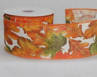 10 yards Fall Leaves Hopsack Wire Edge Ribbon - Ribbon for Wreaths, Fall Wreath Ribbon, Fall Ribbon