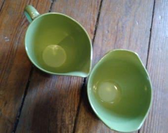 Oneida Melamine Sugar Bowl & Creamer Set Advacado Green