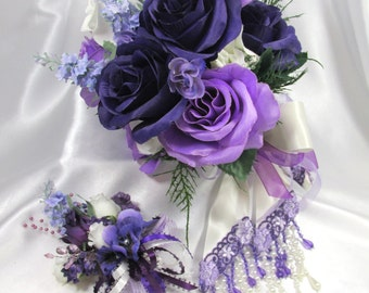 Radiant Orchid Bridal Beaded Cascading Bridal Bouquet and Boutonniere Set in Ivory, Purple and Lavender Roses ready to ship