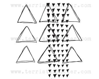NEW DESIGN Thermofax Screen - Layered Triangles