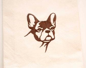 French Bulldog Tea Towel | Dog Lover Gift | Embroidered Kitchen Towel | Embroidered Towel | Embroidered Tea Towel | Hand Towel | Dish Towel